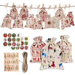 Christmas DIY Advent Calendar Countdown 1-24 Numbers Bag Candy Storage Pouch.AU