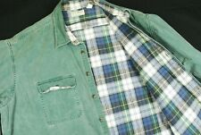 Vintage LL Bean Plaid Flannel Lined Cotton Long Sleeve Shirt Green Mens 2XL XXL