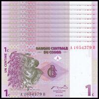 Lot 10 PCS, Congo 1 Cent, 1997, P-80, Banknotes, UNC