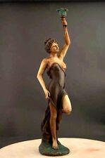 Bronze Candle Holder Art Deco Sculpture Large