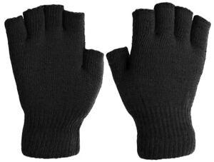 Men's Basic Fingerless Knit Winter Gloves