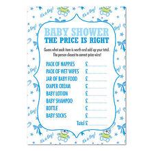 """Baby shower """"le juste prix"""" jeu, pack de 16, les garçons (bleu)"""