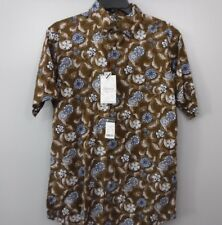 Cremieux Size Medium  Brown Floral New Mens Button Up Shirt