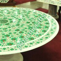 "Round 60"" Marble Dining Table Top Rare Malachite Random Inlay Living Room Decor"