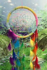 28cm rainbow chakra feather dreamcatcher dream catcher