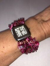 Colleen Lopez Silver Watch Pink Mother of Pearl Chip Bead Stretch Bracelet B1193