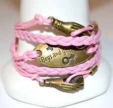 Bronze Charms Infinity Bracelet Pink Leather 18-23cm Free Gift Bag New