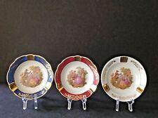 Set of 3 Vintage Victorian Limoges France Veritable Porcelain 4-3/4'' Ashtray