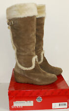 GUESS TAN SUEDE KNEE HIGH WEDGE BOOTS SIZE 6.5