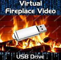 VIRTUAL FIREPLACE VIDEOS USB DRIVE - REAL LOG FIRE & SOUND EFFECTS - 9 SCENES