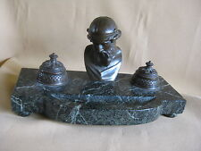 Antique Bronze and Marble Inkwell Ink Stand Deskset