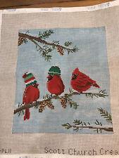 Scott Church Needlepoint Canvas cardinals Christmas
