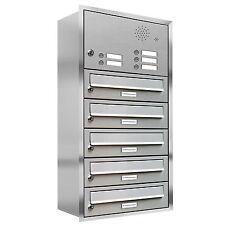 5er Premium Edelstahl Briefkastenanlage für Unterputz Montage Klingel