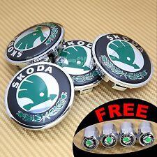 4 ALLOY CAR WHEEL RIM CENTER CENTRE LOGO CAPS HUB EMBLEM BADGE 66MM FOR SKODA