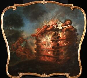 17th CENTURY HUGE OLD  MASTER OIL ON  CANVAS - FUNERAL OF HERCULES WITH POEAS