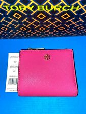 NWT Tory Burch Emerson Mini Wallet Leather Brilliant Pink