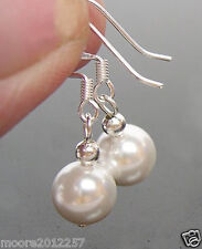 12MM ROUND WHITE SOUTH SEA SHELL PEARL SILVER HOOK DANGLE EARRINGS