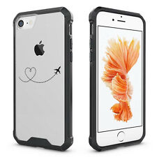 For iPhone 6 6s 7 Plus Clear Shockproof Case Cover Heart Love Travel Airplane