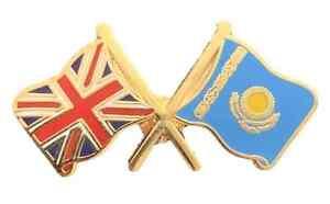 Union Jack & Kazakstan Flags Friendship Courtesy enamel Lapel Pin Badge T1104
