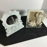 "Children & Angels (7 1/2""X7 1/2"" Oval Mirror) & (7""X6"" Picture Frame) 2 Embossed"