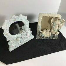 """Children & Angels (7 1/2""""X7 1/2"""" Oval Mirror) & (7""""X6"""" Picture Frame) 2 Embossed"""