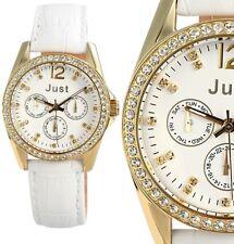 elegante Damen Armbanduhr Silber/Gold Crystalbesatz Lederarmband JU10121 JUST