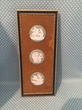 Vintage Wedgwood 3 green Jasper ware medallions wall plaque on brown velvet.