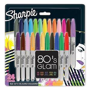 24 x Pennarelli indelebili Sharpie, Penne a punta fine, Colore 80's Glam