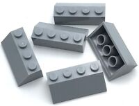 Lego 5 New Light Bluish Gray Slope 45 2 x 4  Sloped Pieces