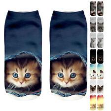 1Pair 3D Women Socks Brand Sock Fashion Unisex Socks Cat Pattern Funny Low Ankle
