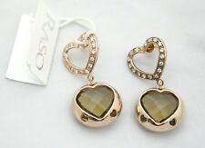 Orecchini pendenti Raso Gioielli in argento,cristalli,pietre marroni a cuore