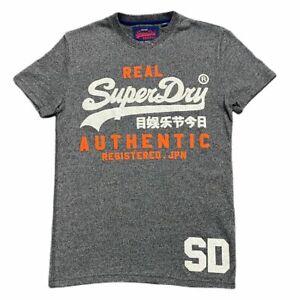 Mens Designer SUPERDRY King Short Sleeve T Shirt Casual Gym Top Tee Grey / White