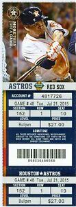 2015 Astros vs Red Sox Ticket::Chris Carter HR/Vince Velasquez First Career Win