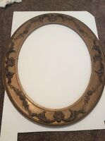 """Antique Wood Carved Ornate Oval Frame Picture Art Wooden 25 1/2"""" X 21 1/2"""""""