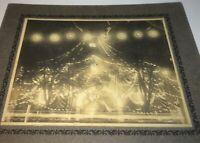 Rare Antique Patriotic American Night Bright Lit Flags Cabinet Photo! US C.1900!