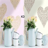 Holden Decor Floral Heart Metallic Wallpaper 2 Colours