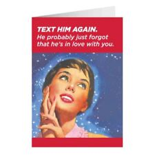 """Retro Humour """"Text Him Again"""" Greetings Card Birthday Gift Occasion Funny"""