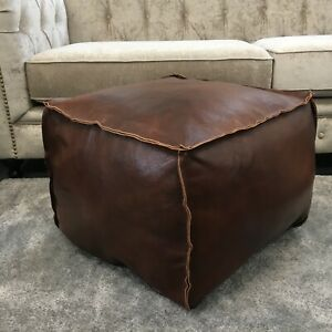 Genuine Leather Cowhide Square Ottoman Footstool Pouffe Pouf 50×50