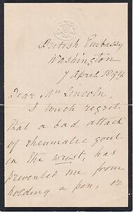 Julian Pauncefote, British Ambassador to US, signed 1894 handwritten letter