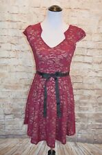 Modcloth Sweet Staple dress Merlot NWOT S Yellow Star Lace a-line sequin Party