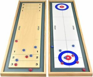 GoSports Shuffleboard and Curling 2 in 1 Table Top Board Game with 8...