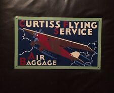 CURTISS-FLYING SERVICE-Air Baggage-METAL SIGN-FOR THE PILOT-AVIATION MEMORABILIA