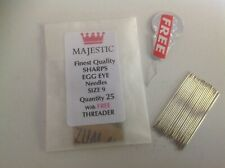 25 size 9 SHARPS EGG EYE hand sewing needles
