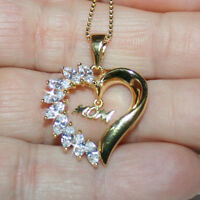 Diamond Alternatives Mom Heart Pendant Necklace Yellow 14k Gold over 925 SS