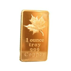 (5) 1 oz Troy Ounce Maple Leaf .999 Fine Copper Bullion Bar Cu Element