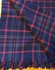 Vintage Wool Plaid Blanket Red Blue Green Throw Travel Picinic Fringe Woolen