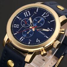 CURREN Mens Fashion Blue Leather Alloy Case Military Wrist Sport Quartz Watch