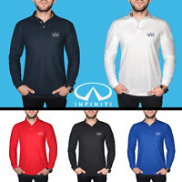 INFINITI Long Sleeve Polo T Shirt COTTON EMBROIDERED Auto Car Logo Mens Gift