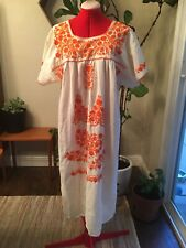 Cream Natural Mexican Dress Embroidered Orange Day Of The Dead