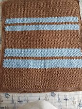 "HANDMADE CROCHET BABY BLANKET FAWN & BLUE "" [64 X 73CM]"